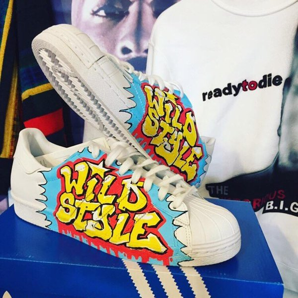 ADIDAS SUPERSTAR - Größe 42 US 8,5 Custommade Sneaker Wild Style Graffiti